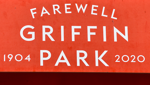 Goodbye to Griffin Park sign